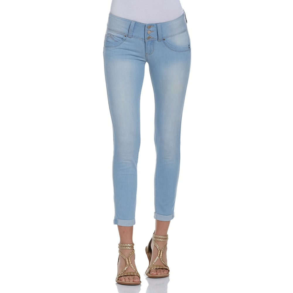 YMI Juniors' Wanna Betta Butt Cuffed Skinny Jeans - Q36-LIGHT WASH