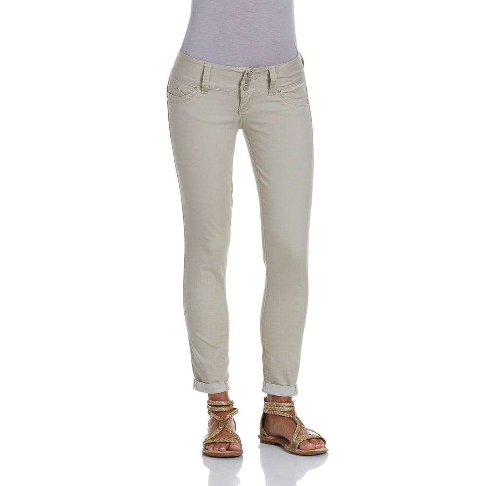 YMI Juniors' Wanna Betta Butt Cuffed Skinny Pants - SAND