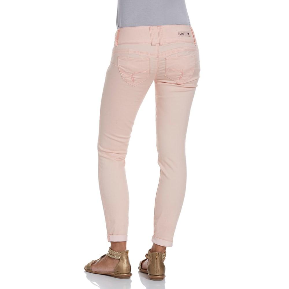 YMI Juniors' Wanna Betta Butt Cuffed Skinny Pants - PEACH