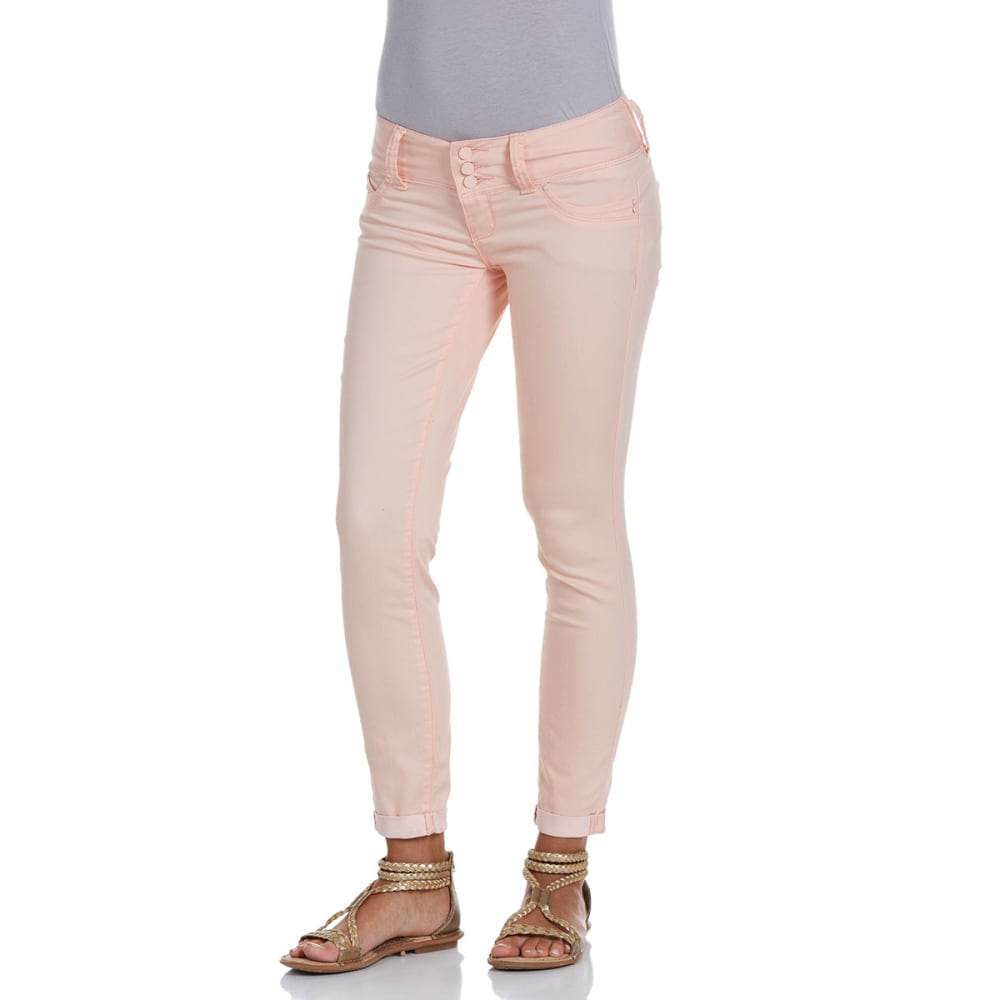 YMI Juniors' Wanna Betta Butt Cuffed Skinny Pants - PEACH