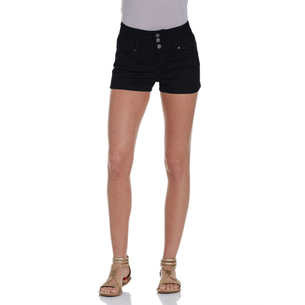 YMI Juniors' High Rise Stacked Denim Shorts - BLACK