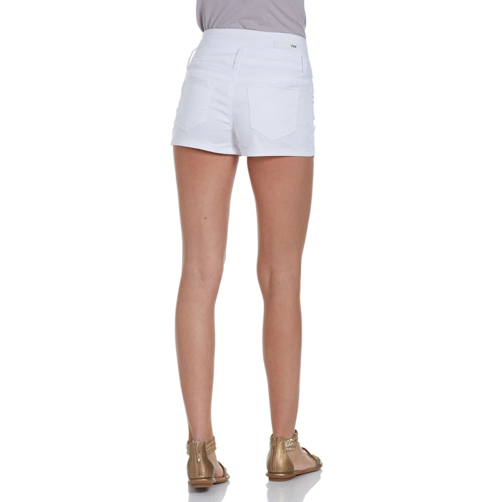 YMI Juniors' High Rise Stacked Denim Shorts - WHITE