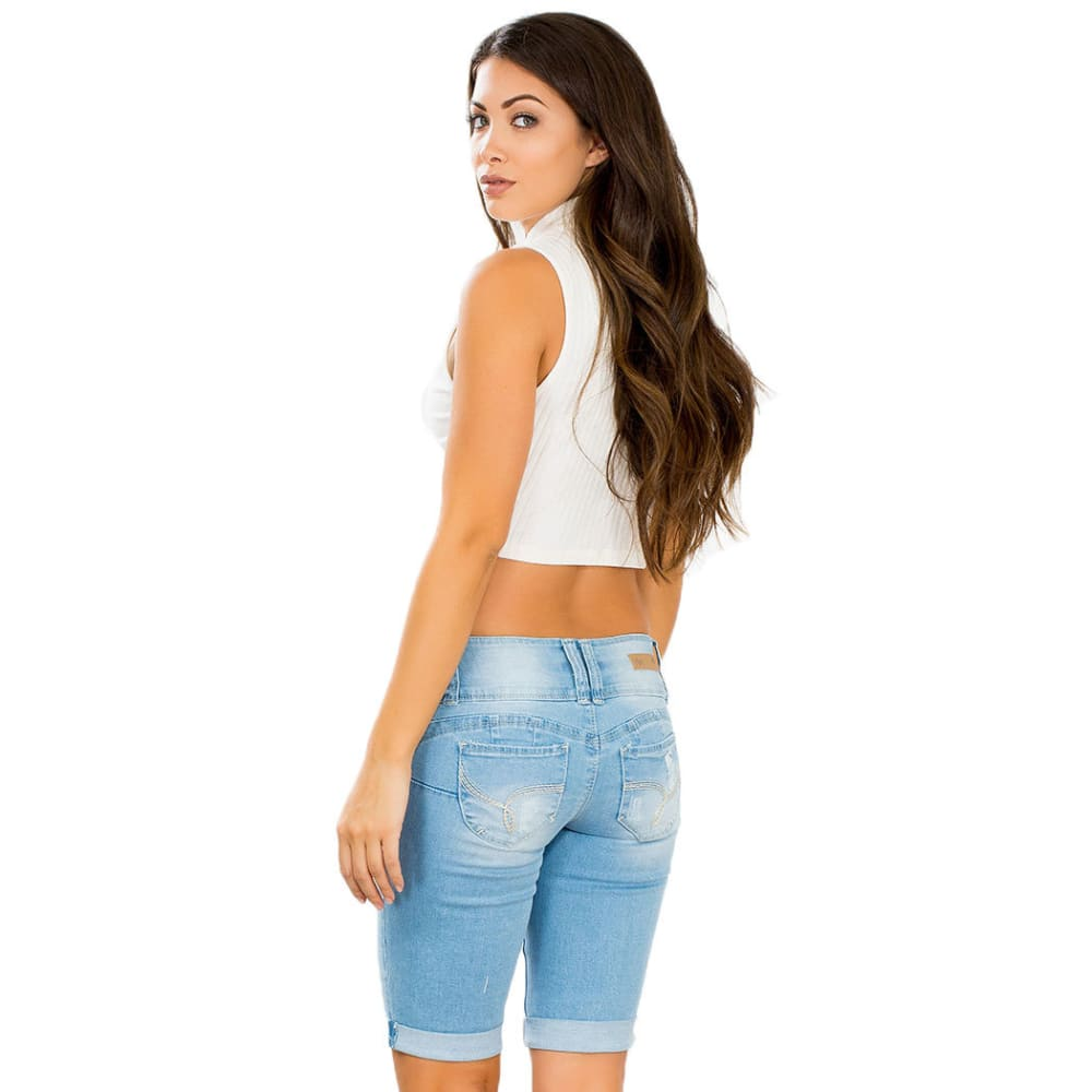 Y.M.I. Juniors' Distressed 3-Button Bermuda Shorts - -L304 LIGHT BLUE