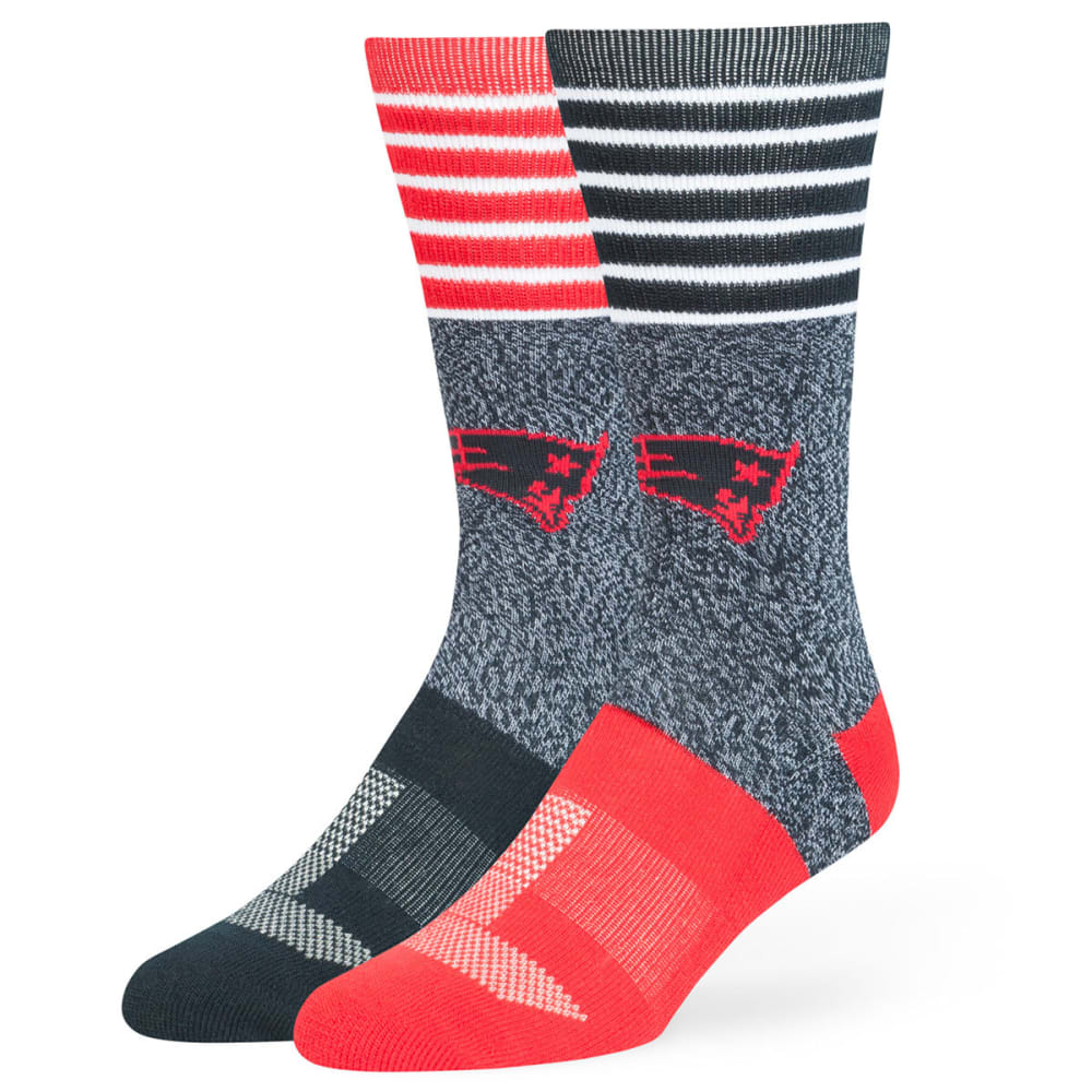 NEW ENGLAND PATRIOTS Men's Vernon Crew Socks - NAVY/RED