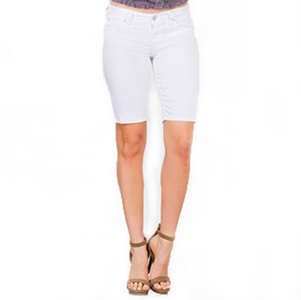 YMI JEANSWEAR Juniors' WannaBettaButt Twill Bermuda Shorts - WHITE