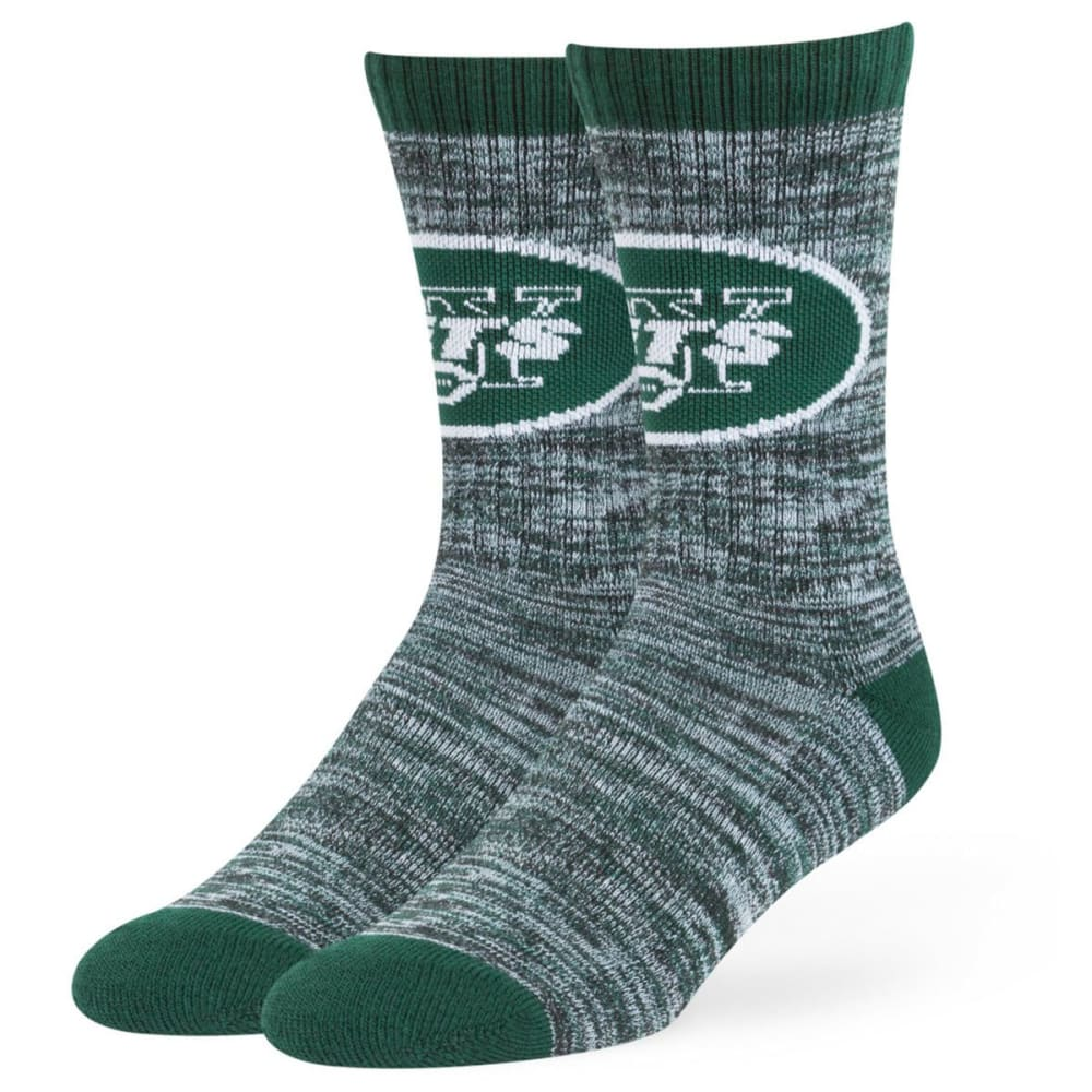 NEW YORK JETS Men's Leroy Crew Socks - WHT/DKGREEN/BLACK