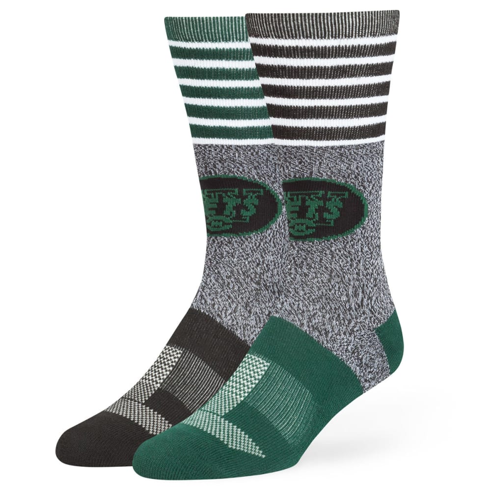 NEW YORK JETS Men's Vernon Crew Socks - L-GREEN/R-BLACK