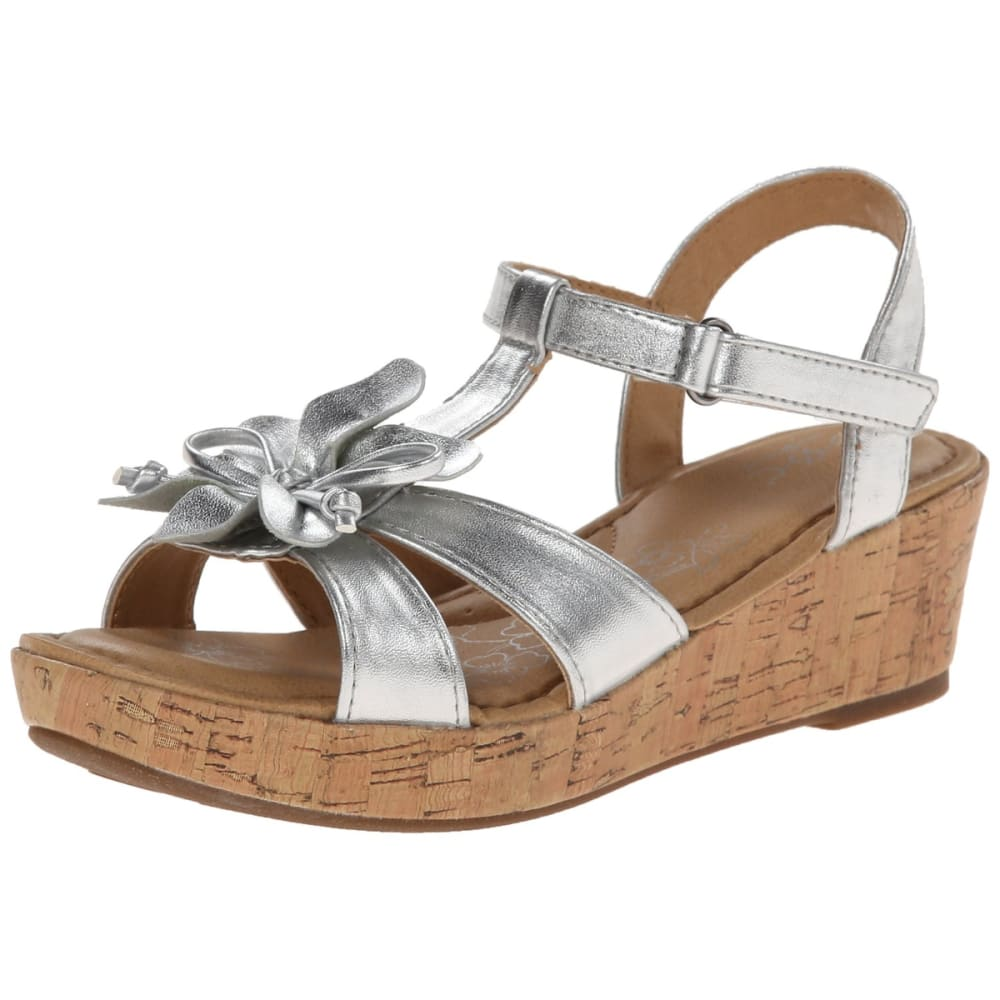 BOC Girls' Bayberry Silver Flower Sandals - SILVER