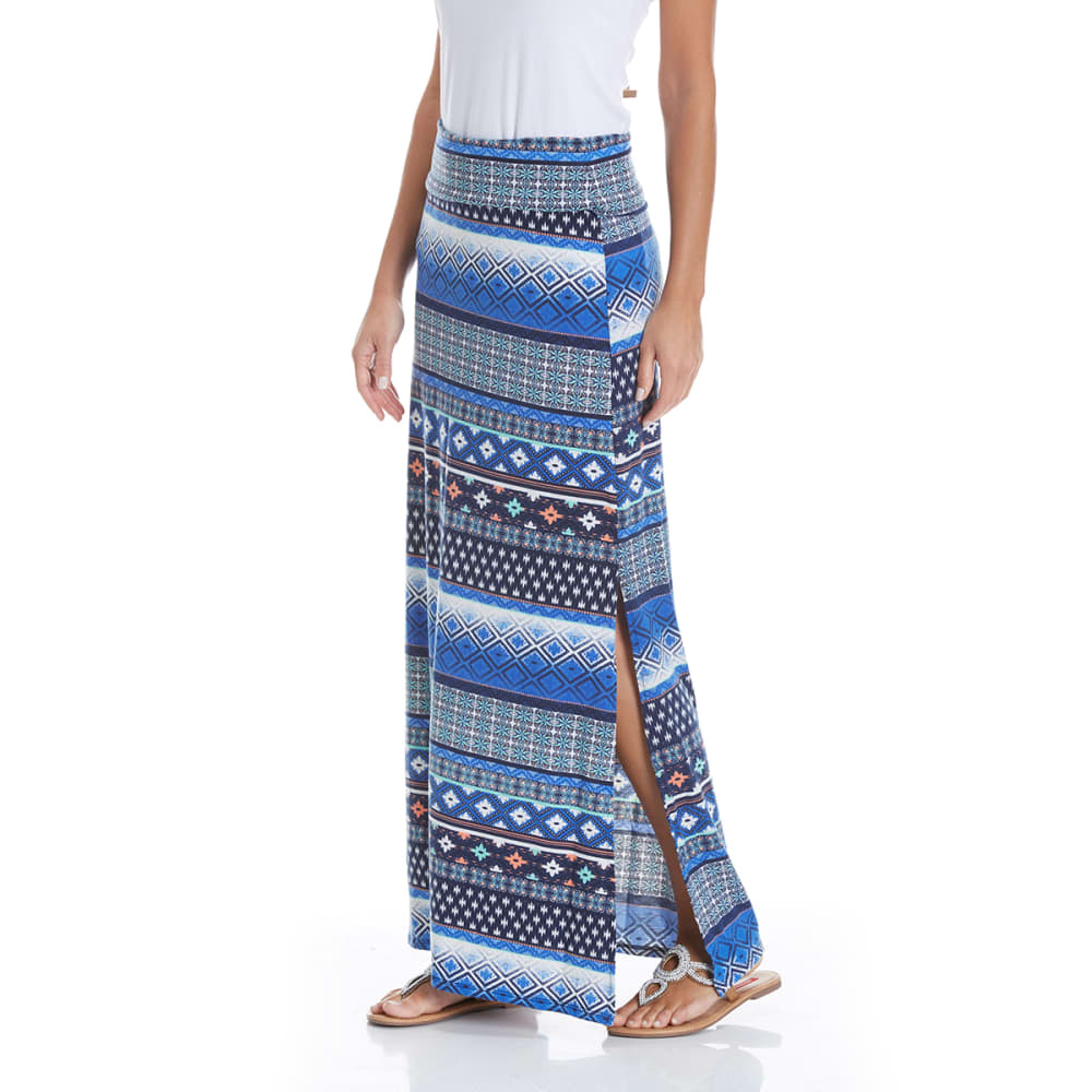 JOE B Juniors' Printed Knit Maxi Skirt - NAVY/COBALT