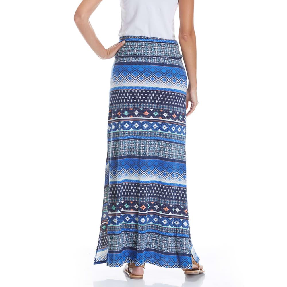 JOE B Juniors' Printed Knit Maxi Skirt - NAVY/COBALT