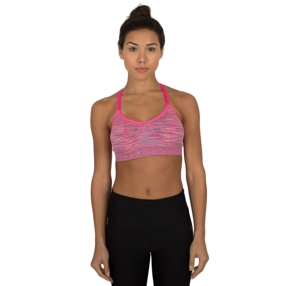 RBX Women's Multicolored Striated Sports Bra - CARIB SEE/PINK-C