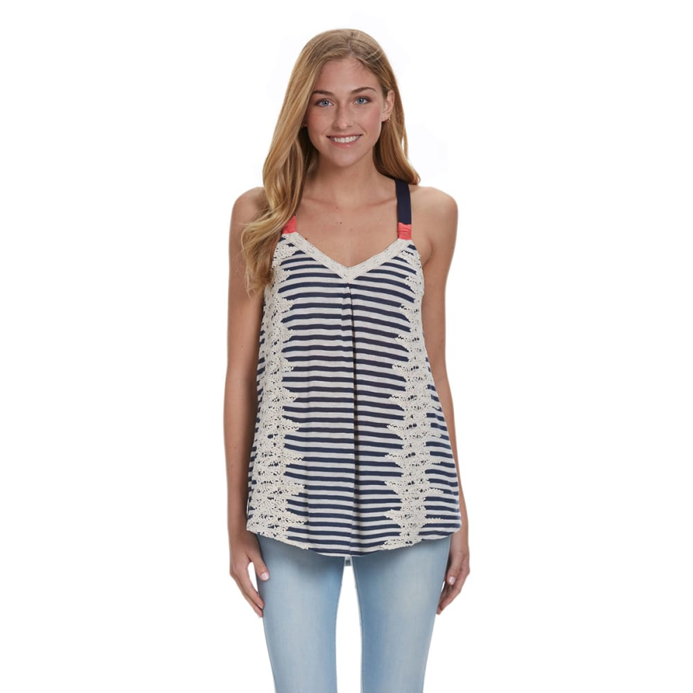 JOLT Juniors' Crochet Detail Tank - AMERICAN BLUE