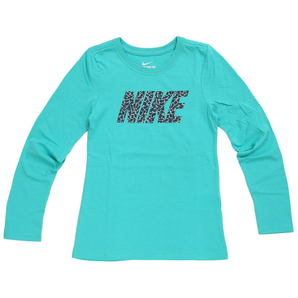 NIKE Big Girls' Patterned Crew Long-Sleeve Tee - WASHED TEAL-390