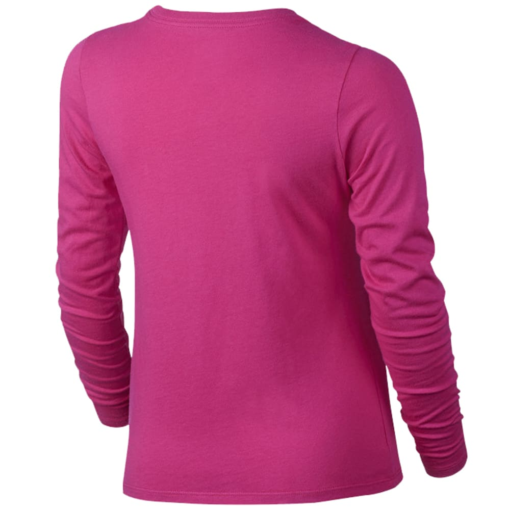 NIKE Big Girls' Patterned Crew Long-Sleeve Tee - VIVID PINK-616