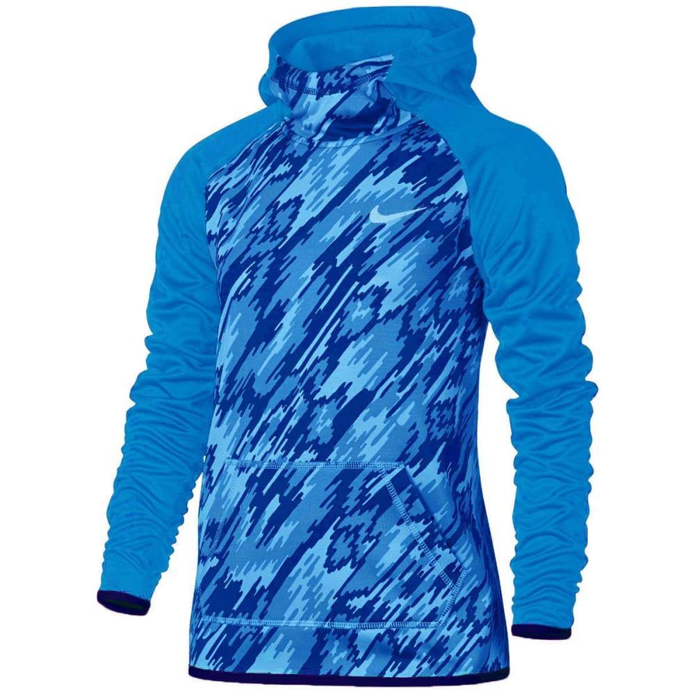 NIKE Big Girls' Therma Training Pullover Hoodie - LT BLUE-435