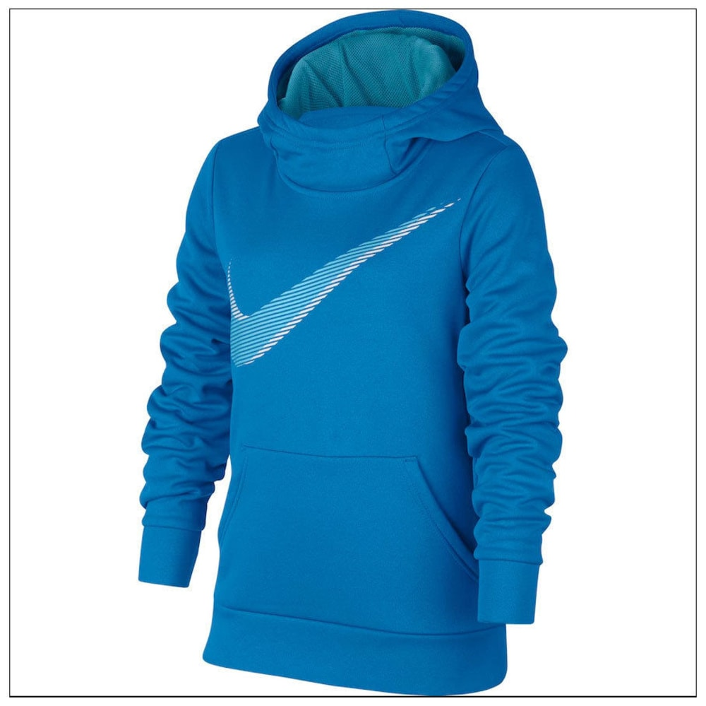 NIKE Big Girls' Therma Swoosh Pullover Hoodie - LIGHT BLUE-435