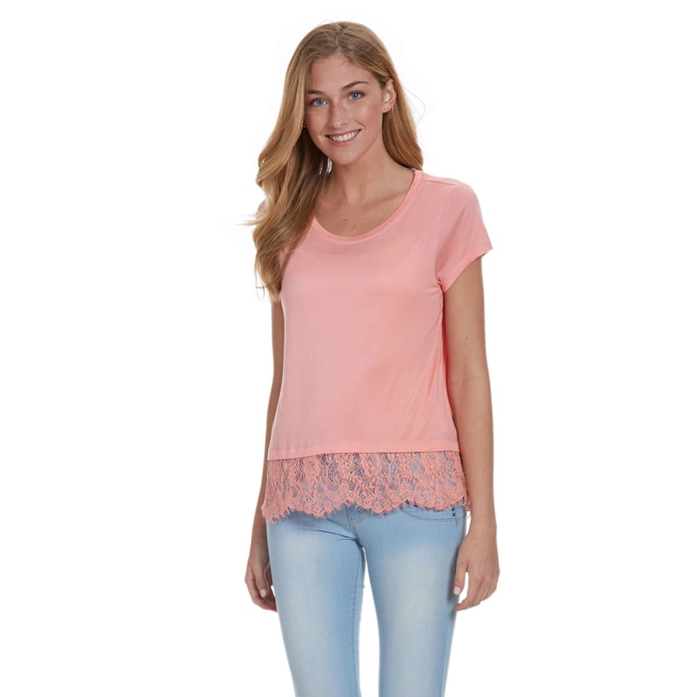 JOLT Juniors' Lace Hem Short-Sleeve Top - CORAL