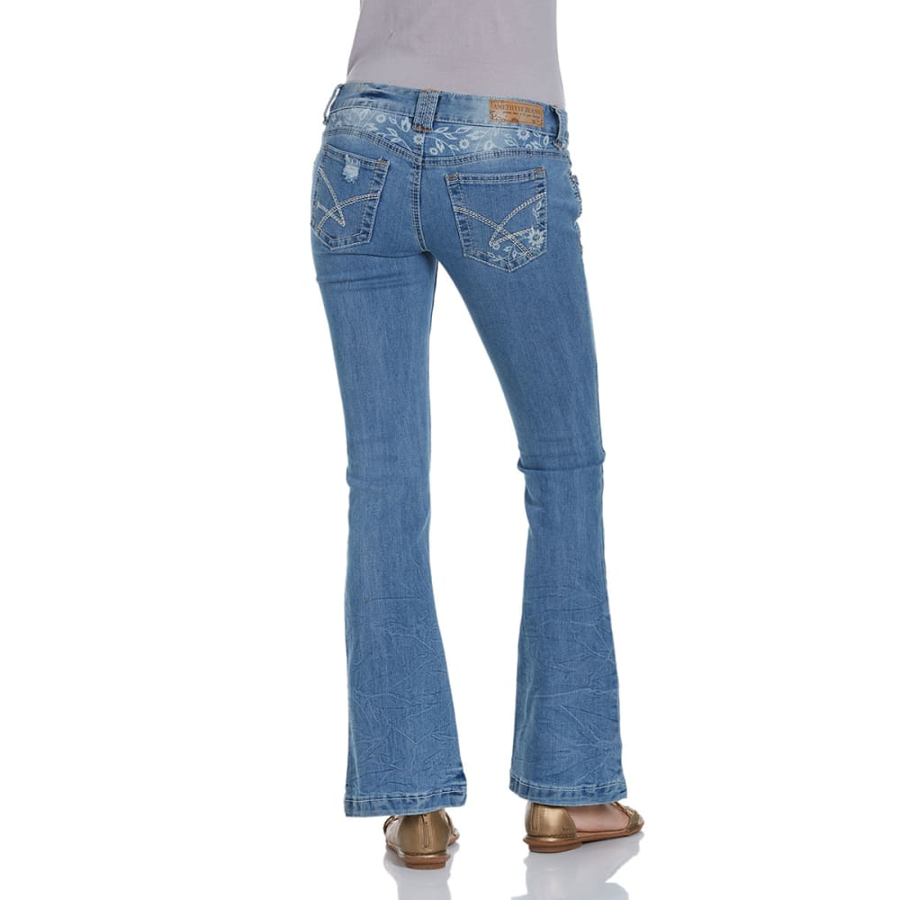 AMETHYST JEANS Juniors' Distressed Flare Low Rise Jeans - MEDIUM BLUE-405