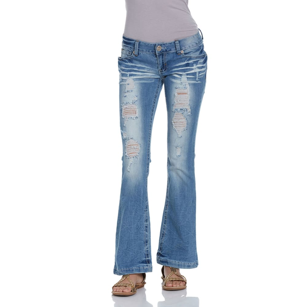 AMETHYST JEANS Juniors' Distressed Flare Low Rise Jeans - MEDIUM BLUE-405