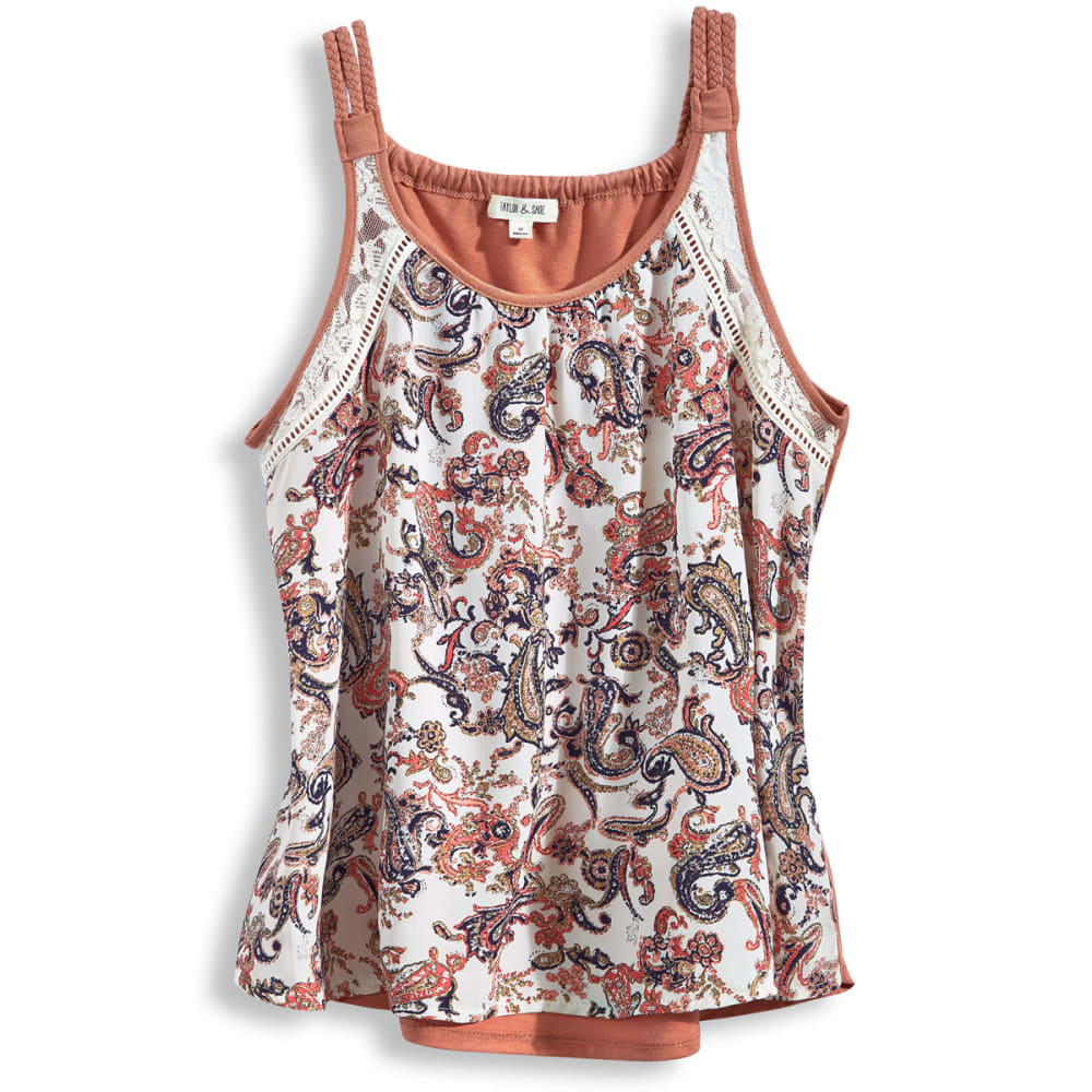 TAYLOR AND SAGE Juniors' Paisley Print Braid Strap Tank - ROSEY SHELL