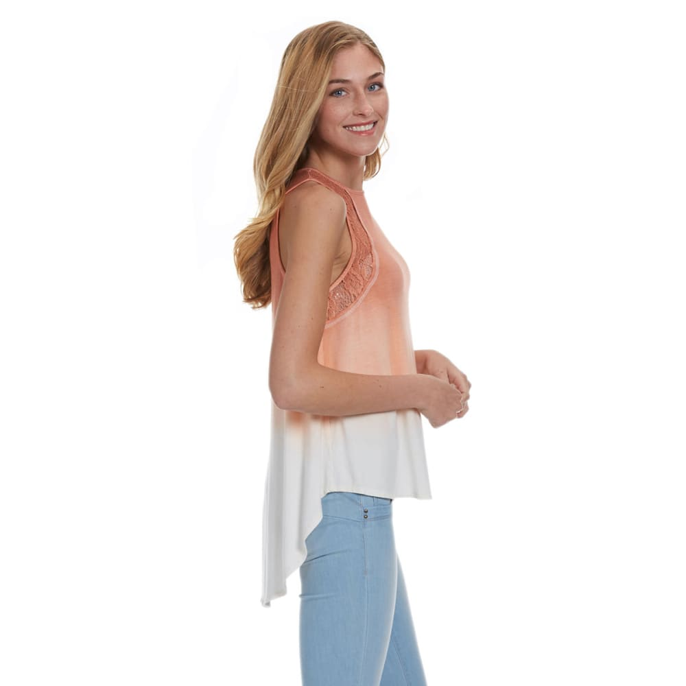 TAYLOR AND SAGE Juniors' Dip Dye Tank - ROSEY SHELL