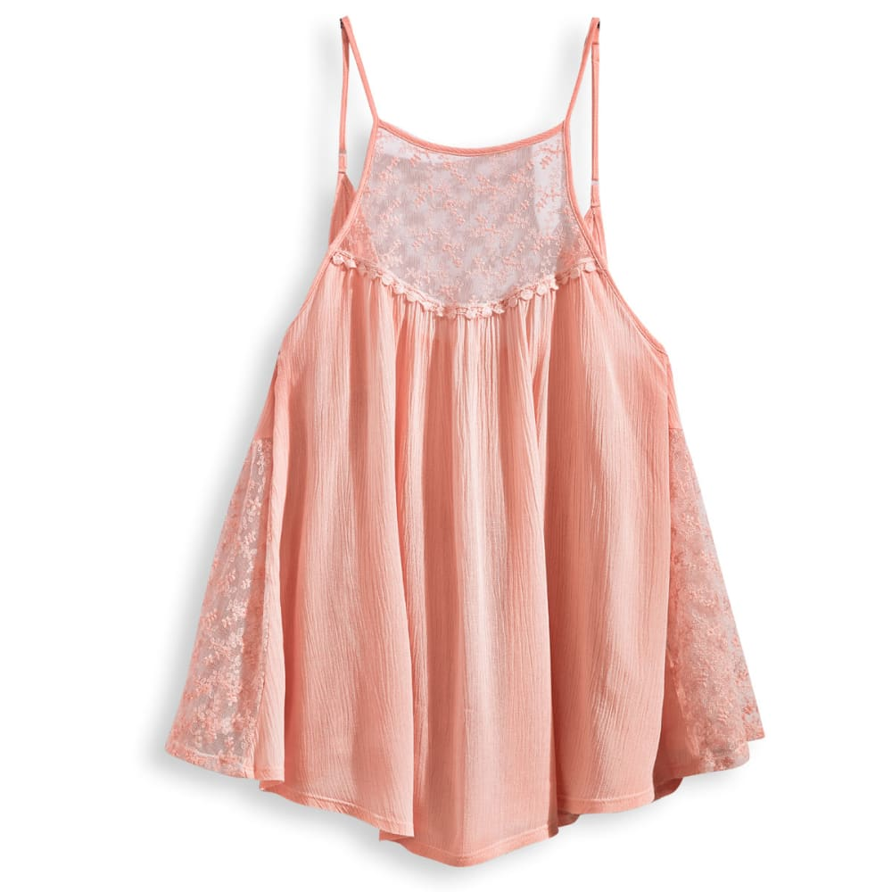 TAYLOR & SAGE Juniors' Lace Trim Swing Tank - ROSEY SHELL