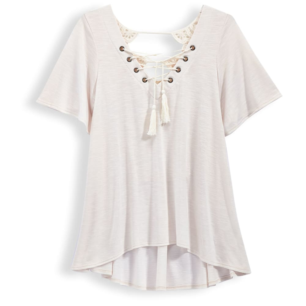 TAYLOR & SAGE Juniors' Lace Up Tee With Crochet Back - NATURAL