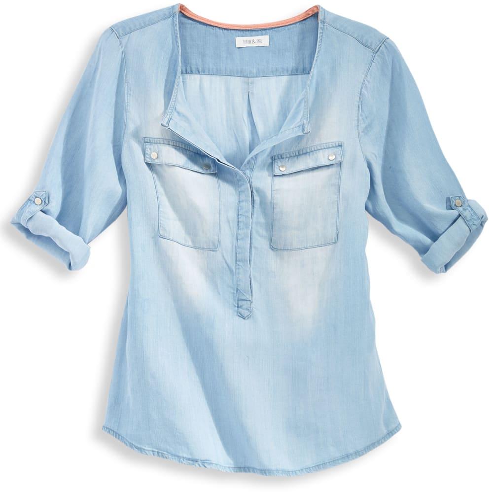 TAYLOR & SAGE Juniors' Chambray Tencel Shirt - CHAMBRAY