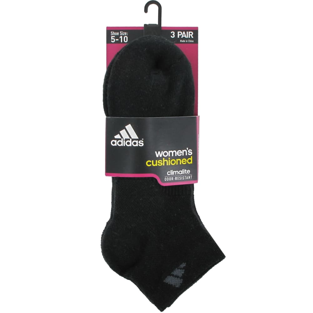 ADIDAS Women's Cushioned Variegated Low Cut Socks, 3 Pack - BLACK/BLACK