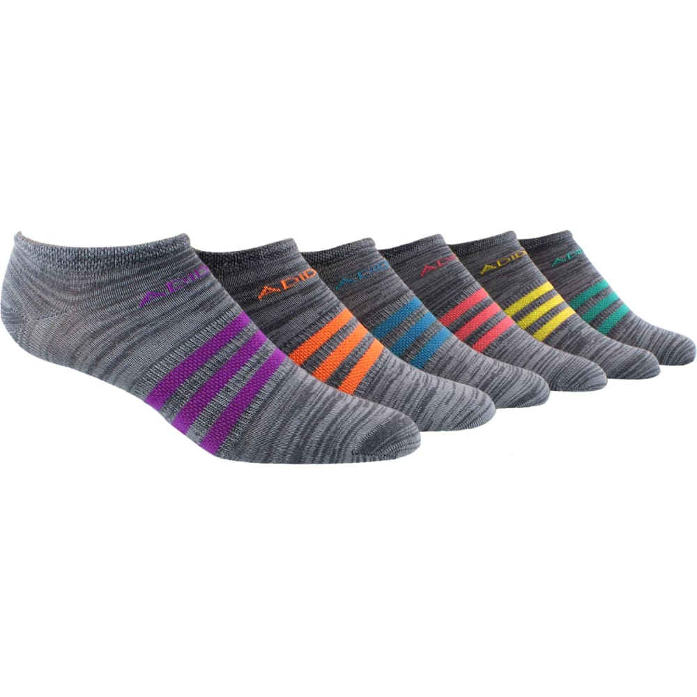 ADIDAS Women's Superlite No-Show Socks, 6-Pack - ASSORTED ONIX/CLEAR