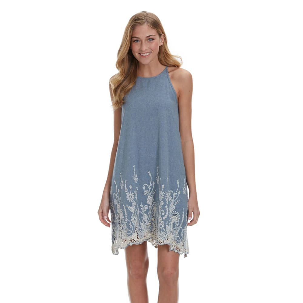 TAYLOR & SAGE Juniors' Chambray High-Neck Dress - BLUE