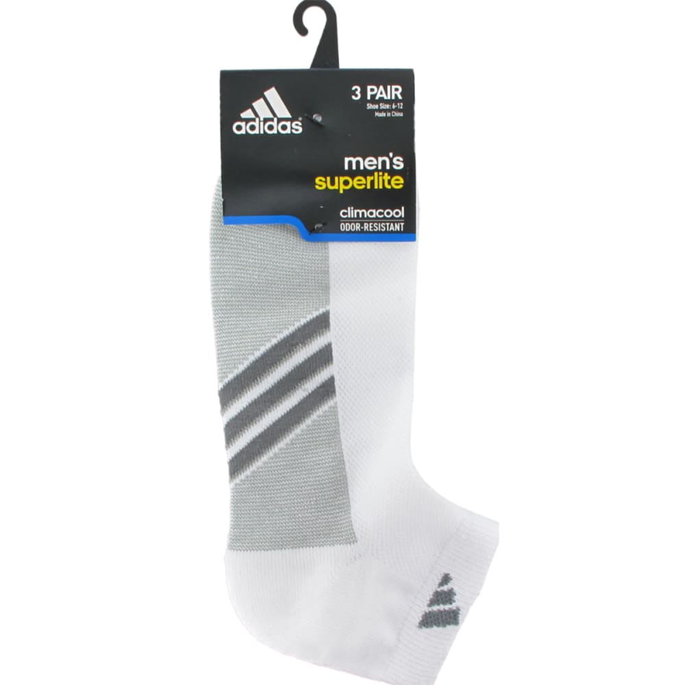 ADIDAS Men's Climacool® Super-Lite Low-Cut Socks, 3 Pack - WHITE/ONIX/LEAD