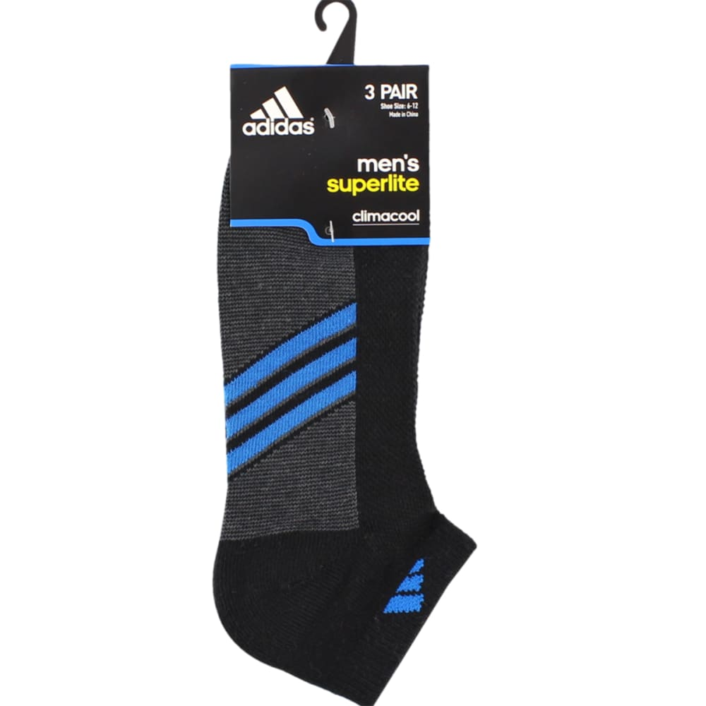ADIDAS Men's Climacool Superlite Low-Cut Socks 3-Pack - BLACK/SHOCK BLUE/GRA