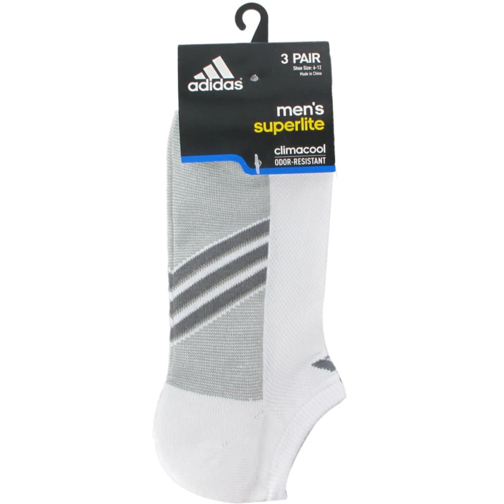 ADIDAS Men's Climacool Superlite No-Show Socks, 3-Pack - WHITE/ONIX/LEAD