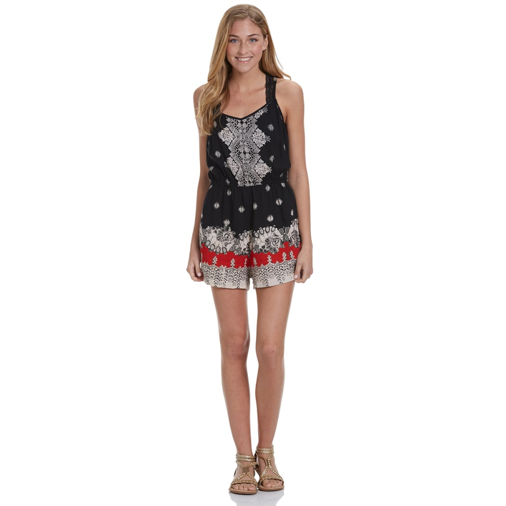 ANGIE Juniors' Printed Romper - BLACK/RED-A453