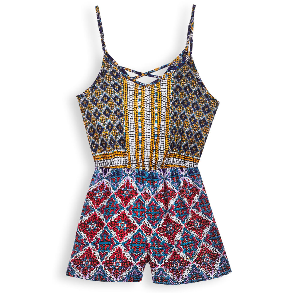 ANGIE Juniors' Printed Romper - BLUE/YELLOW-FK42