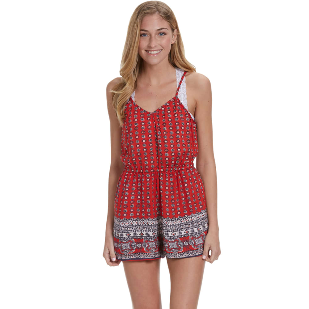 ANGIE Juniors' Printed Romper - RED-MM63