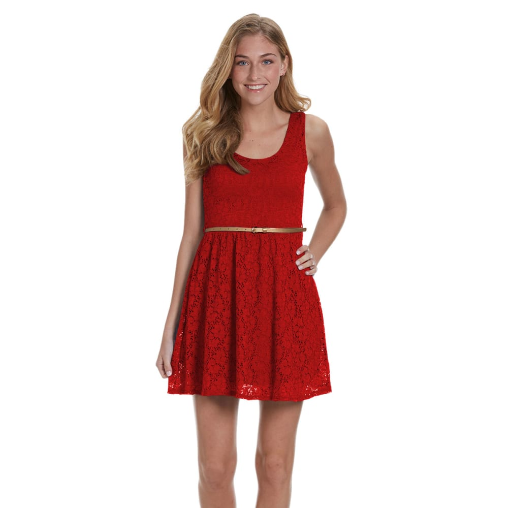 AMBIANCE APPAREL Juniors' Sleeveless Lace Belted Dress - BRIGHT RED