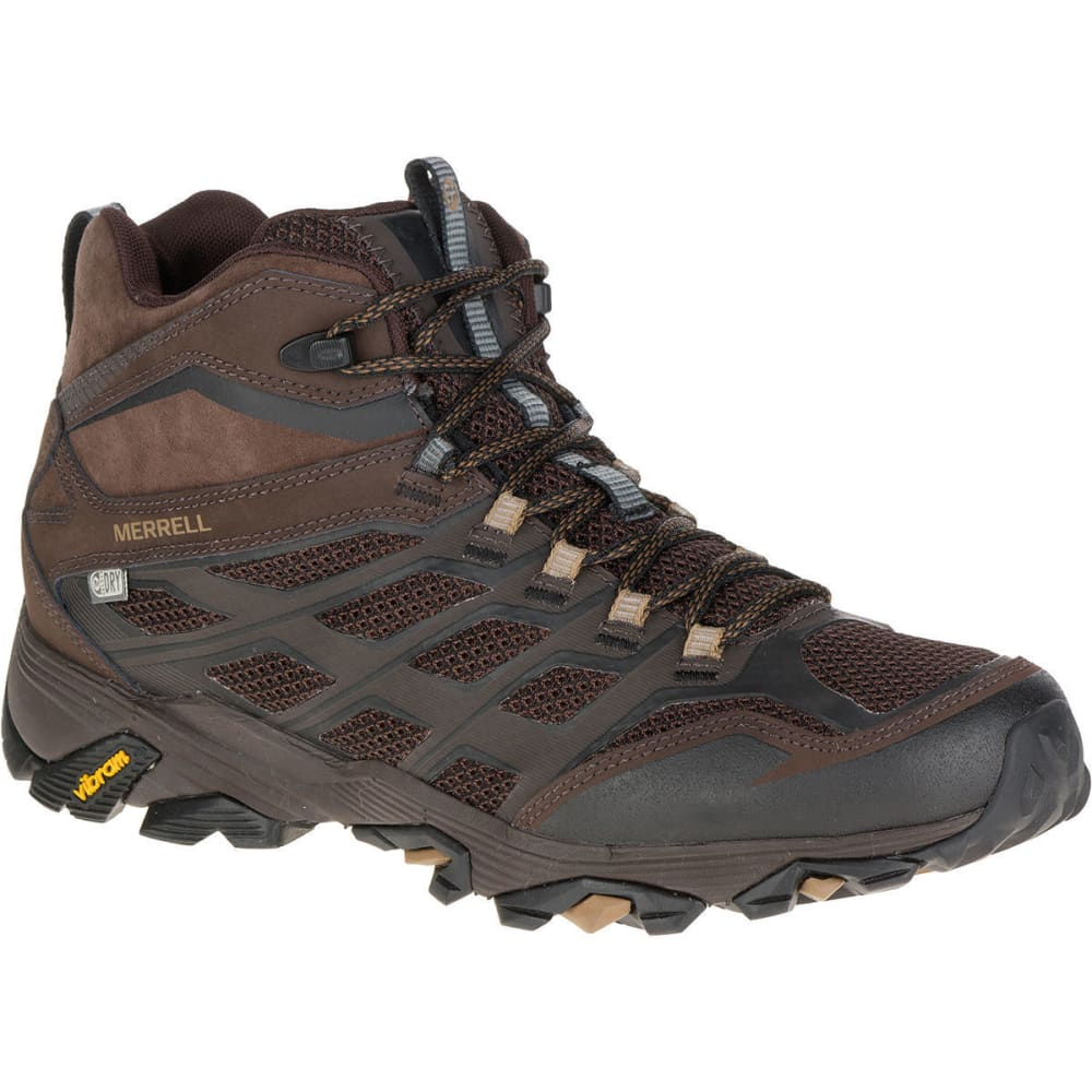 MERRELL Men's Moab FST Mid Waterproof Hiking Boots, Brown, Wide - BROWN