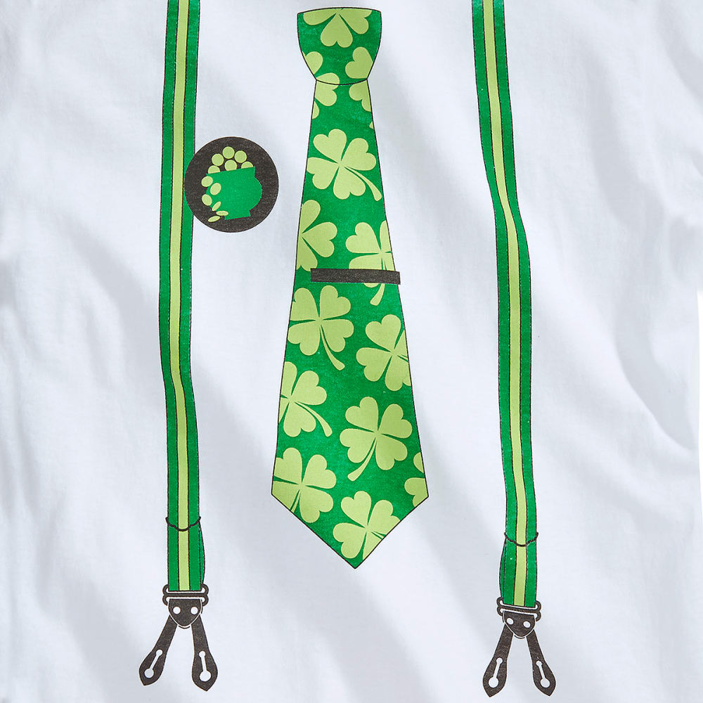 ST. PADDY'S DAY Guys' Suspender and Tie Screen Tee - WHITE