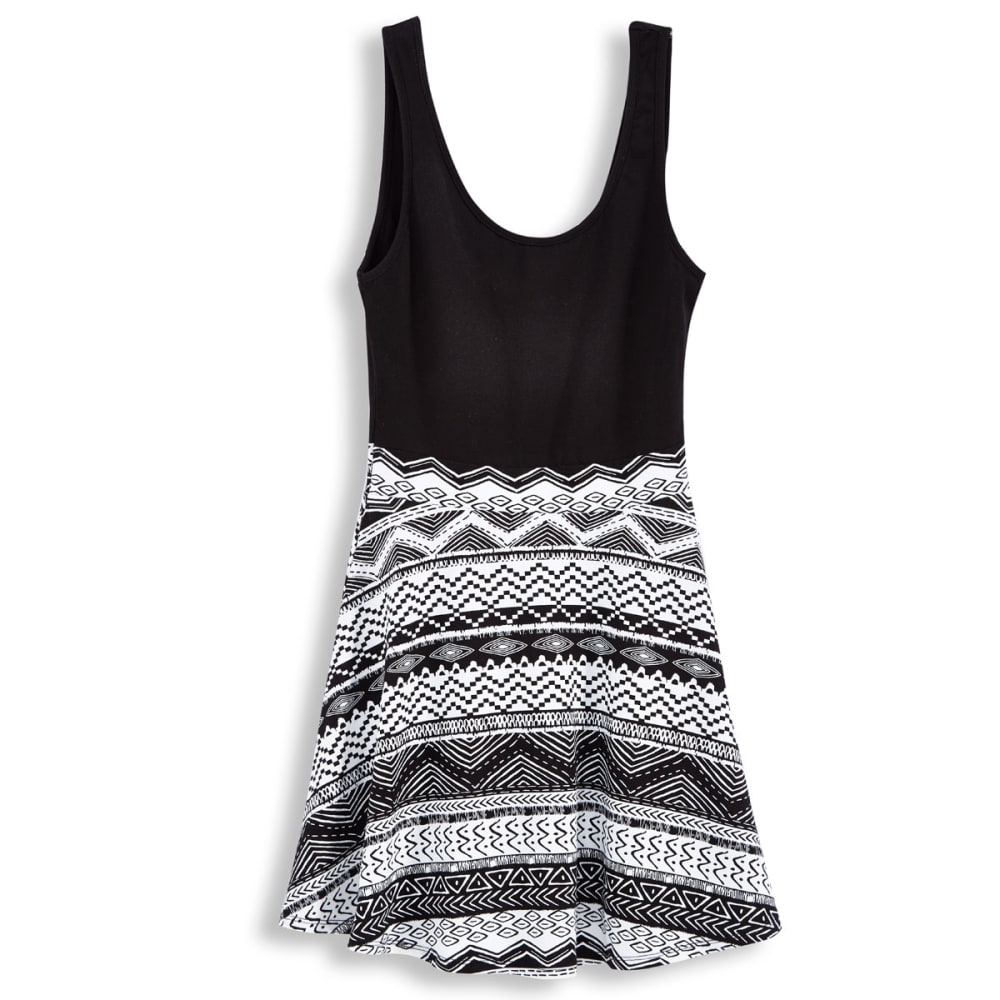 AMBIANCE APPAREL Juniors' Skater Dress - BLACK/WHITE