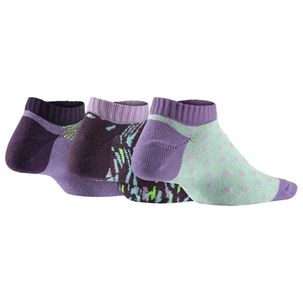 NIKE Girls' Graphic No Show Socks, 3-Pack - ASSORTED 901
