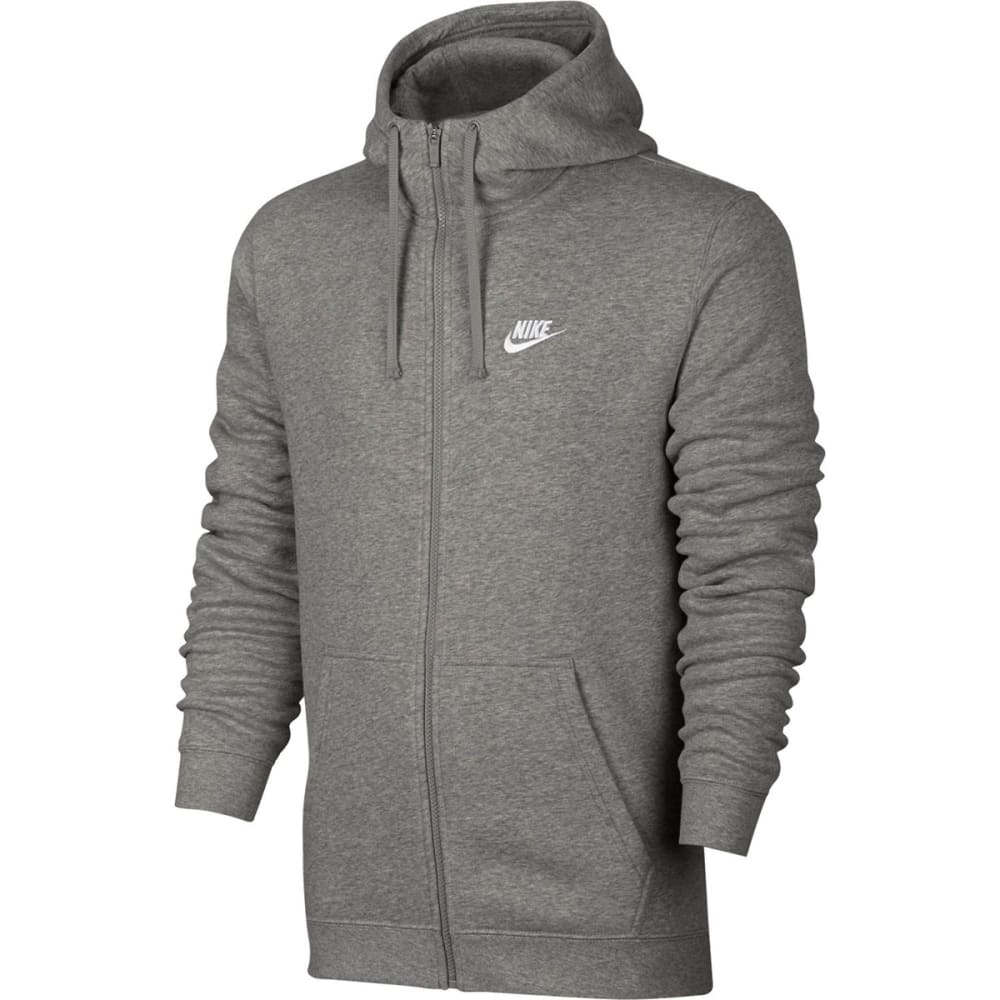 NIKE Men's Fleece Club Full Zip Hoodie - DARK GREY-063