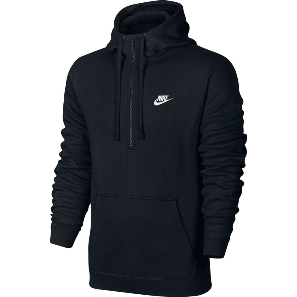 NIKE Men's NSW Club Fleece Half Zip Pullover Hoodie - BLACK/WHITE-010