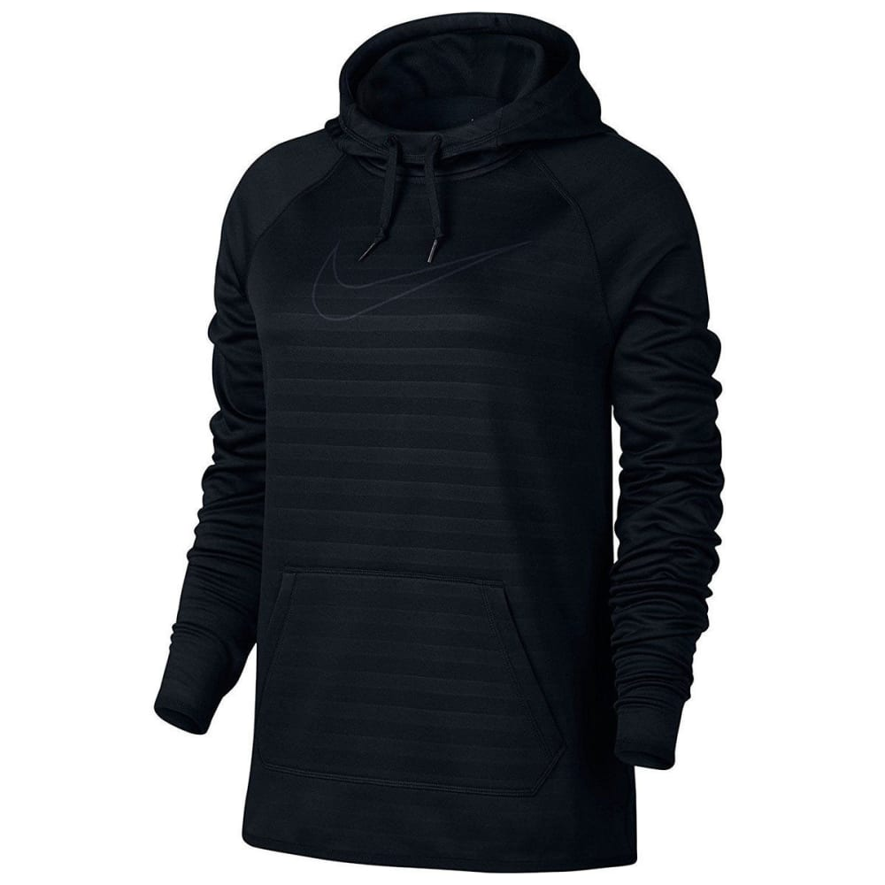 NIKE Women's Therma Embossed Stripe Pullover Hoodie - BLACK 010