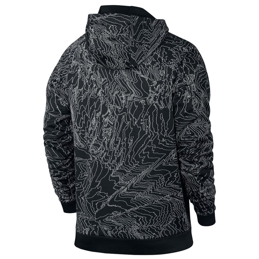NIKE Men's Therma Training Topo Print Pullover Hoodie - BLACK/WHITE-010