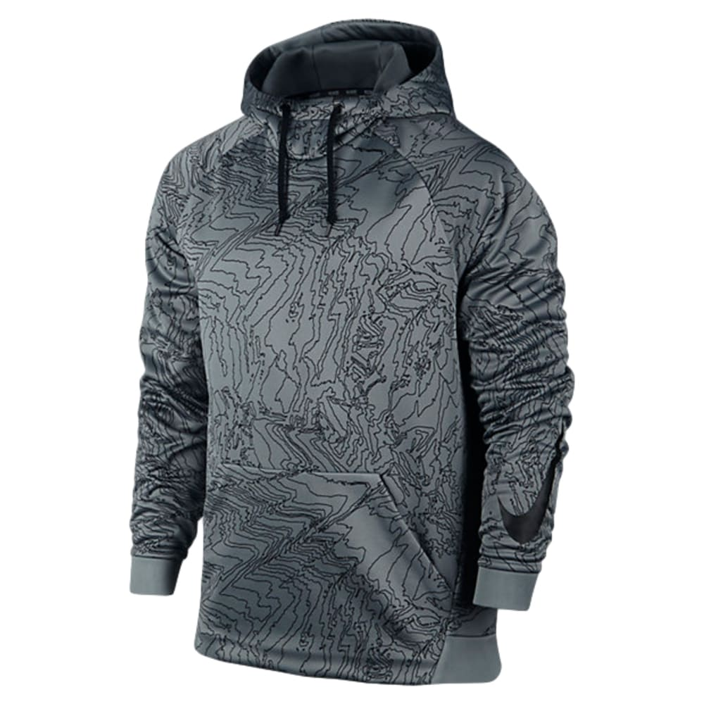 NIKE Men's Therma Training Topo Print Pullover Hoodie - COOL GREY/BLACK-065