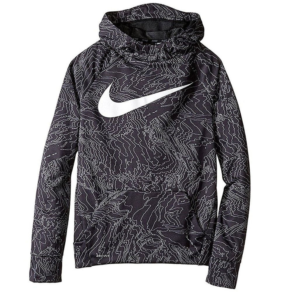 NIKE Big Boys' Therma All-Over Print Pullover Hoodie - BLACK-010