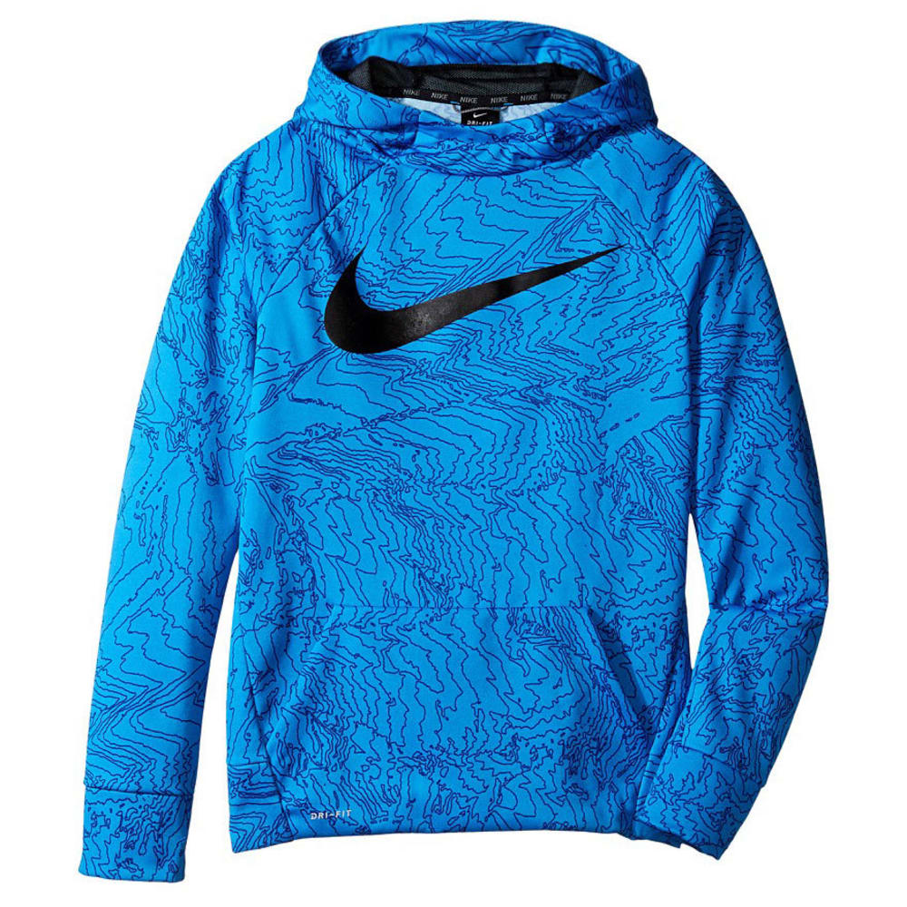 NIKE Big Boys' Therma All-Over Print Pullover Hoodie - BLUE/BLK-435