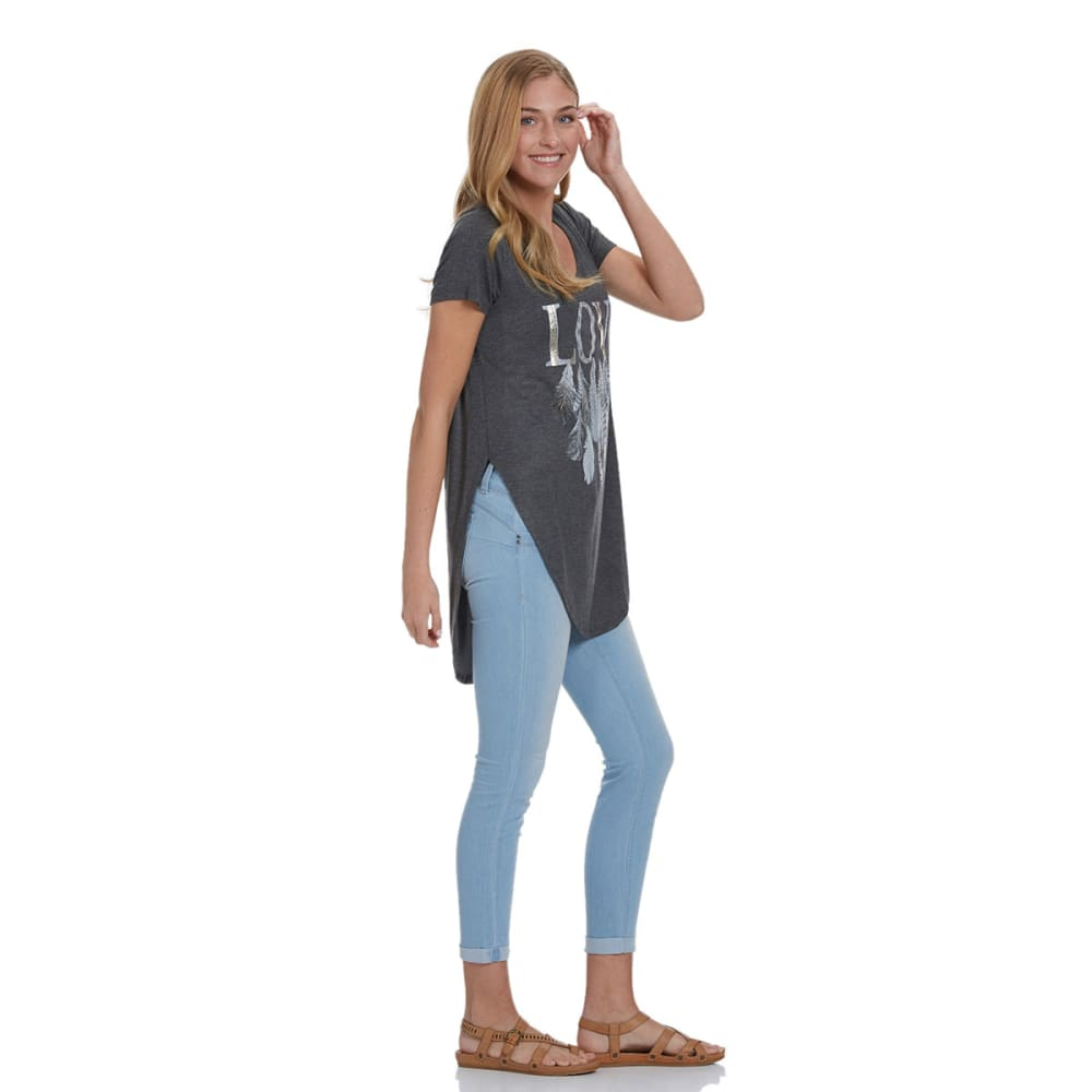 REBELLIOUS.ONE Juniors' Love Feather Graphic Tee - CHARCOAL